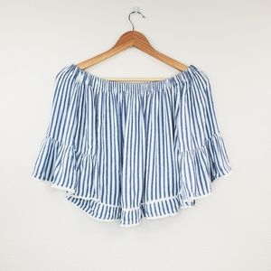 🔴 Forever21 Blue Stripes Off Shoulder Crop Top